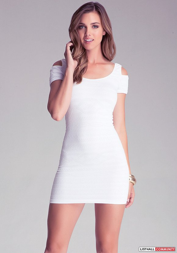 BNWT bebe white tribal cold off shoulder bodycon knit dress P/S