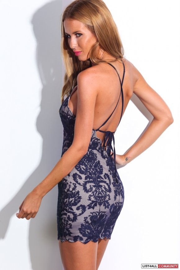 Navy blue jacquard print lace overlay bodycon halter backless dress XS