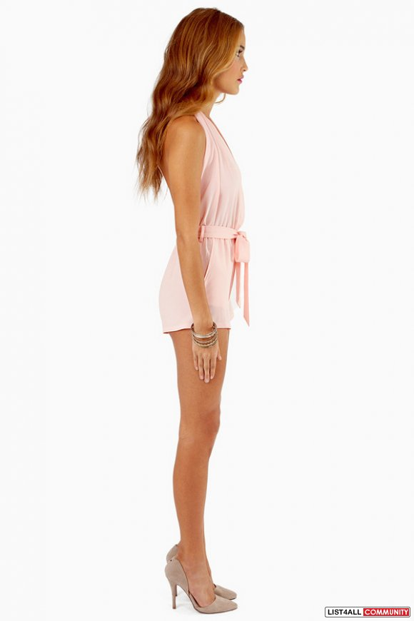 TOBI At The Halter summer backless romper peach pink chiffon S
