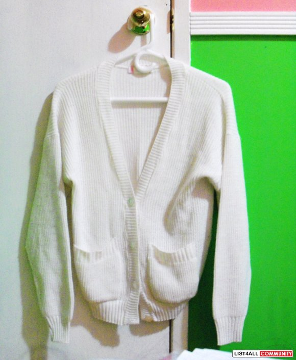 WHITE WOVEN CARDIGAN