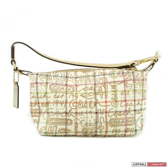 Coach Heritage Stripe Graffiti Small Top Handle Pouch