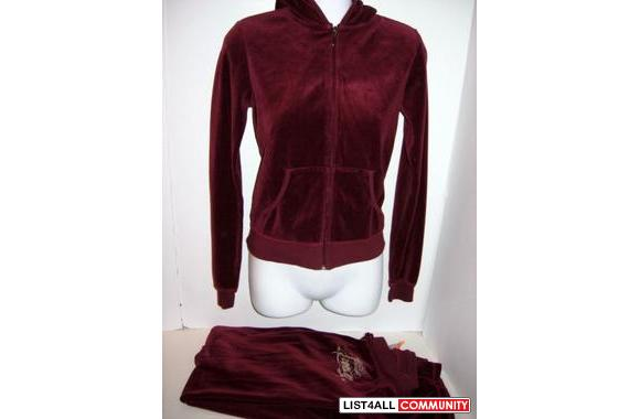 887735b64a28 Authentic Juicy Couture Burgundy Velour tracksuit set jacket pants ...