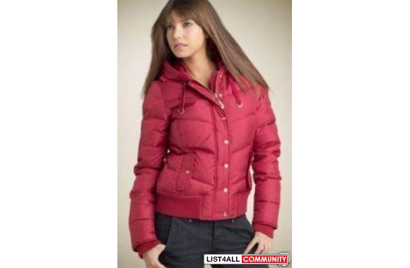 c88b8f28408b Juicy Couture Burgundy Down Bomber Puffer Jacket Coat Sauthentic Juicy