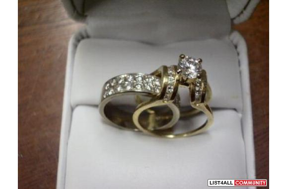 Custom Made Diamond Cradle Bridge Wedding Ring Set