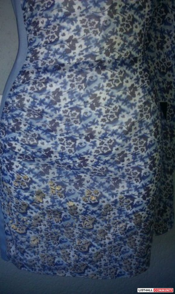 Bebe silk blue floral one off shoulder dress XS