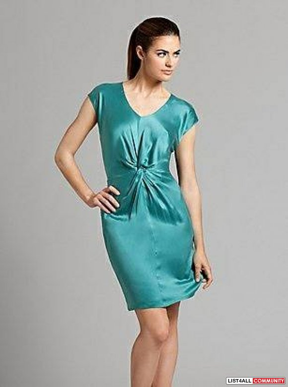 New Marciano Teal Silk Dress Size XS