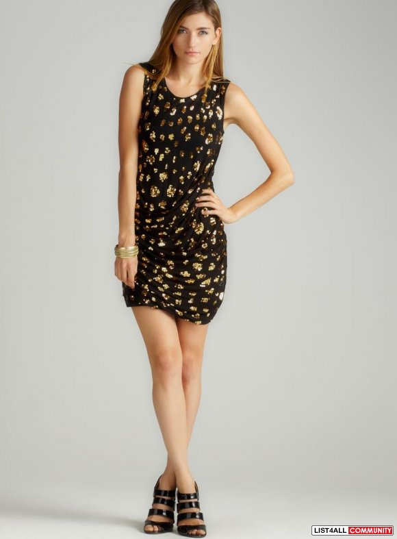 French Connection Aritzia Black Gold Sequin Jersey Dress Size 2