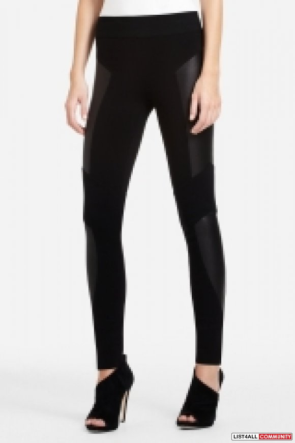 BCBG FAUX LEATHER TIGHTS
