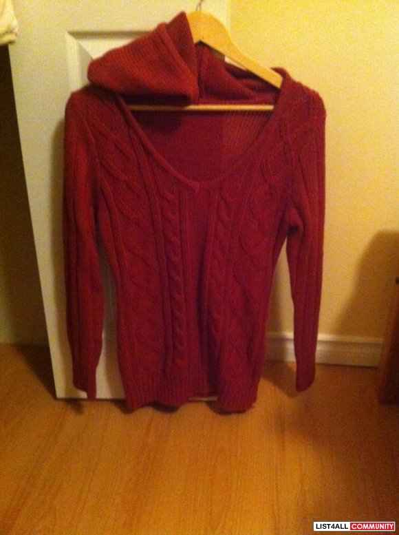 dark pink cable knit sweater with hood $20