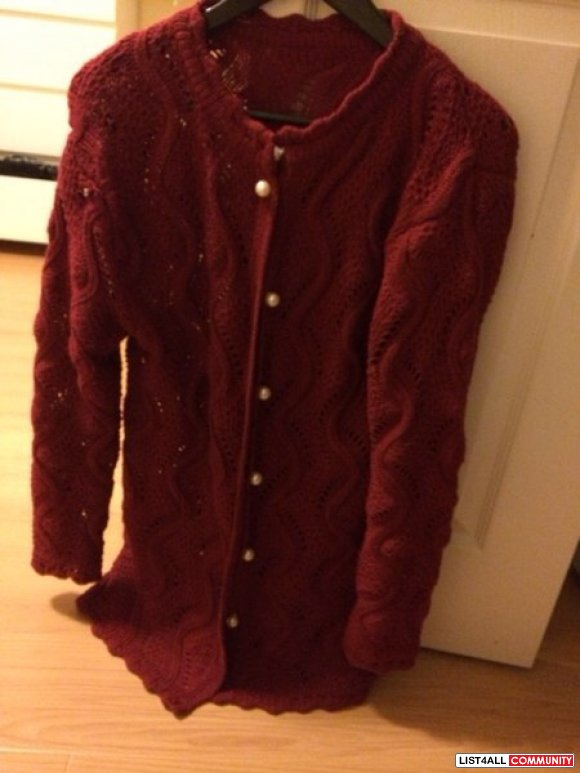 Burgundy red long sleeve with pearl brand new jap