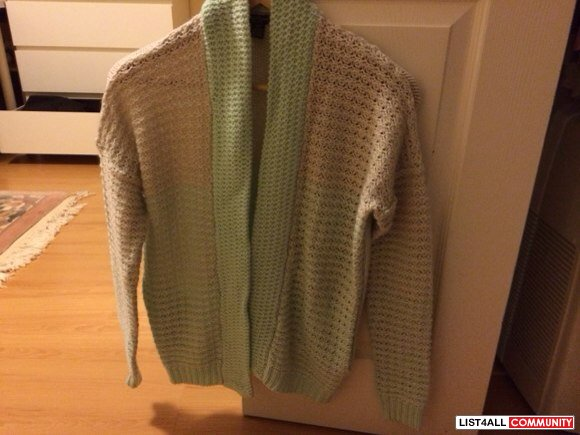 Mint green+ beige cardigan size S