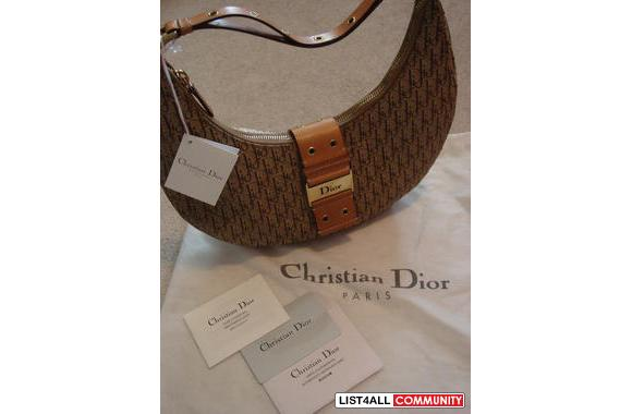 100% Authentic Christian Dior Copacabana hobo bag in beige colo