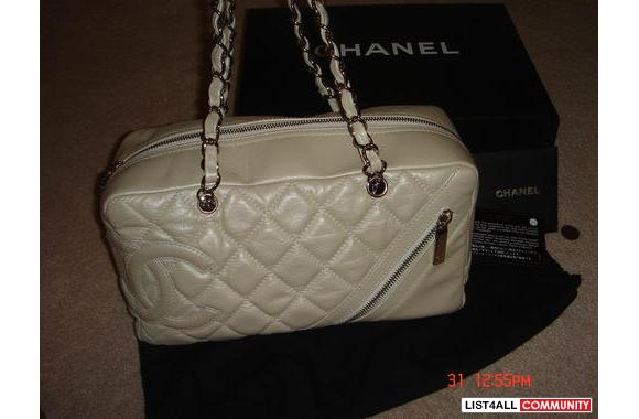 100% Authentic Chanel Cotton Club Bowler in Pearl/white color