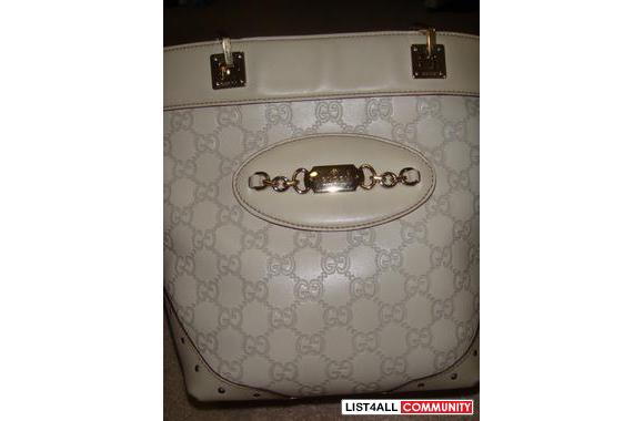 1000% AUTHENTIC GUCCI CREAM/WHITE SHOULDER HANDBAG/SMALL TOTE w e
