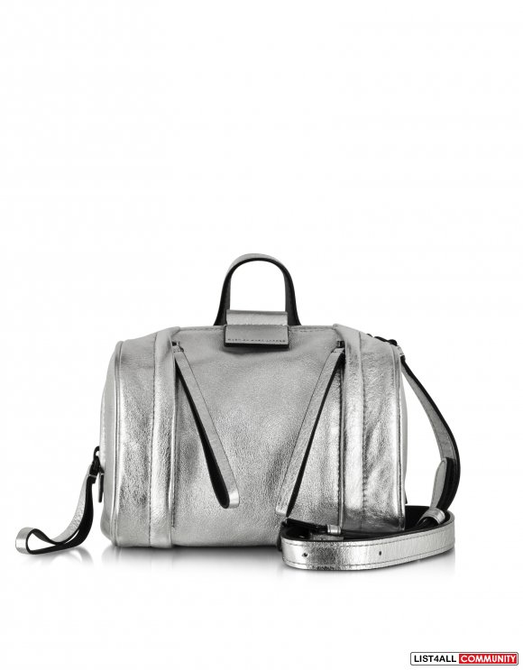 MARC BY MARC JACOBS MOTO METALLIC SILVER SATCHEL BAG