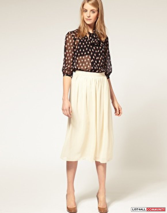 ASOS Cream S/XS Midi Skirt :: silhouettes :: List4All