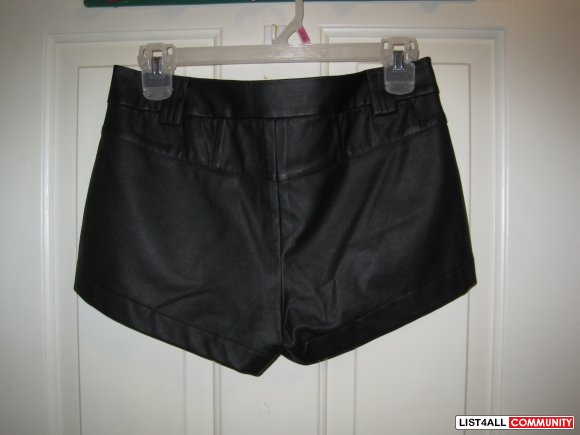 XS Forever 21 Black Faux Leather Shorts
