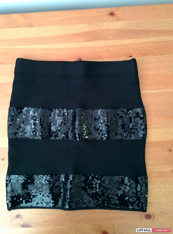 GUESS SEQUIN BANDAGE SKIRT
