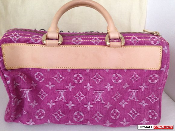 "LV Monogram Pink Denim ""Speedy""_ Authentic_ w/ original receipt"