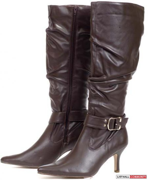 NIB BROWN POINTY KNEE HIGH BOOTS 6