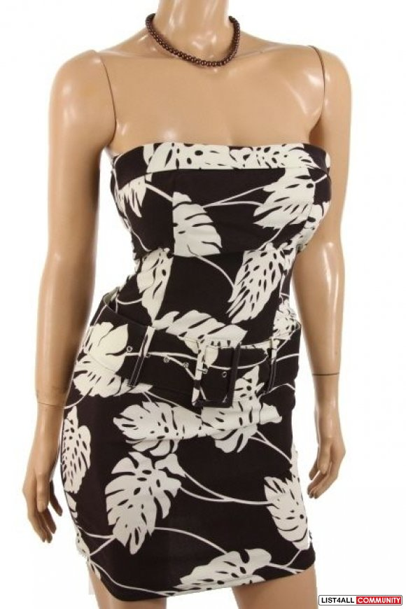 NWT strapless dress with belt sz small