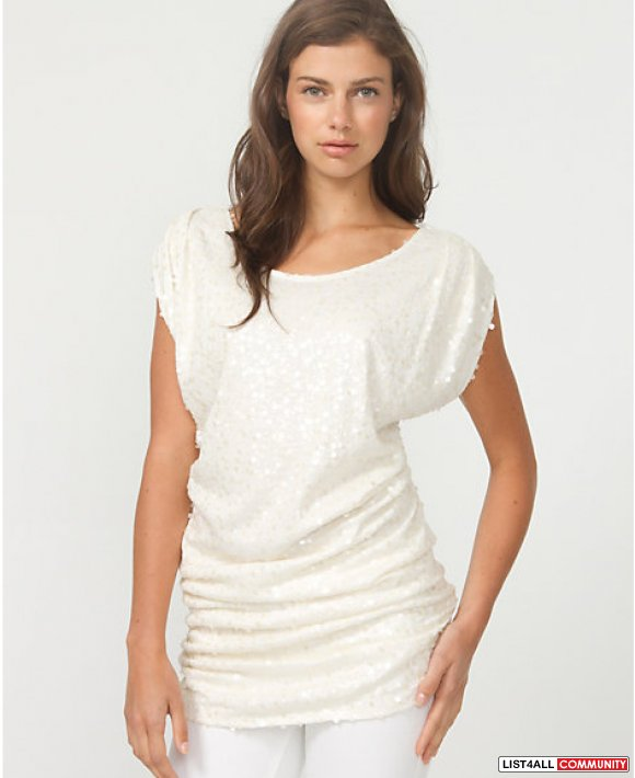 LE CHATEAU WHITE SEQUIN TUNIC TOP XS NWT