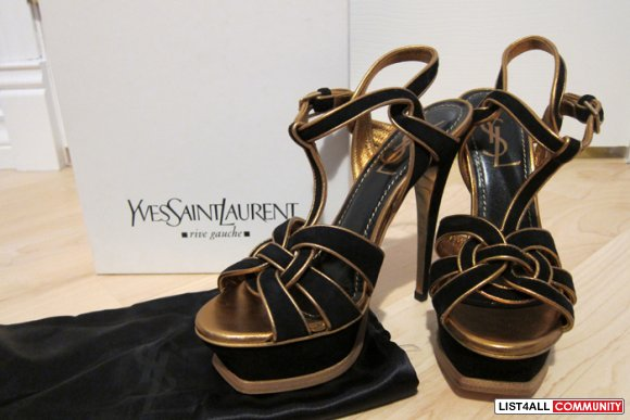 4756b7f70b6 YSL Yves Saint Laurent Tribute Sandals Gold and Black Suede 36.5 ...