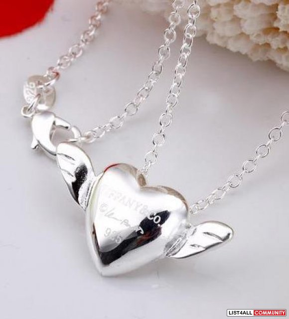 Tiffany heart wings 925 silver Necklace