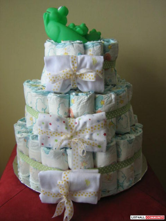 Diaper Cake Green Theme With Onesies Washcloths