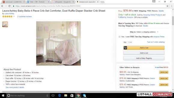Laura Ashley Baby Bella 4 Piece Crib Set Comforter, Dust Ruffle Diaper