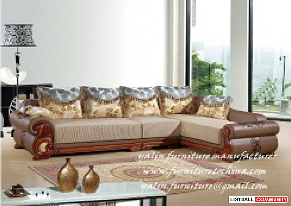 European Style Modern Corner Fabric Leather Sofa Couch Set