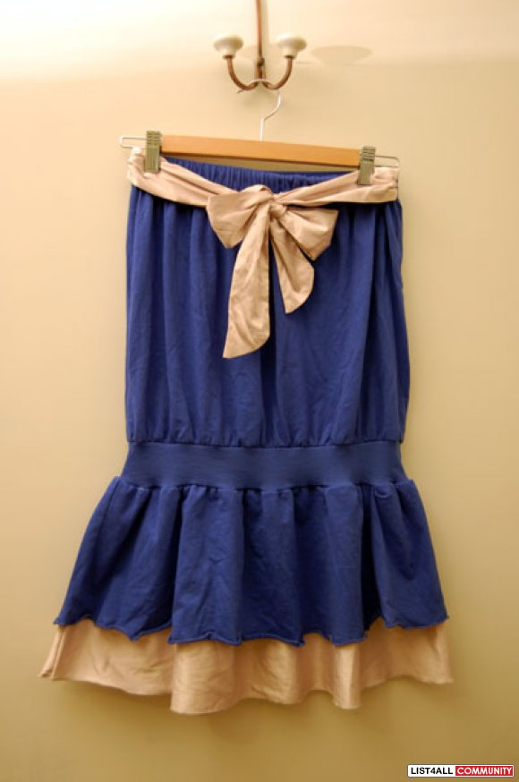 Navy Blue Bow Tie Dress (Japan Style)