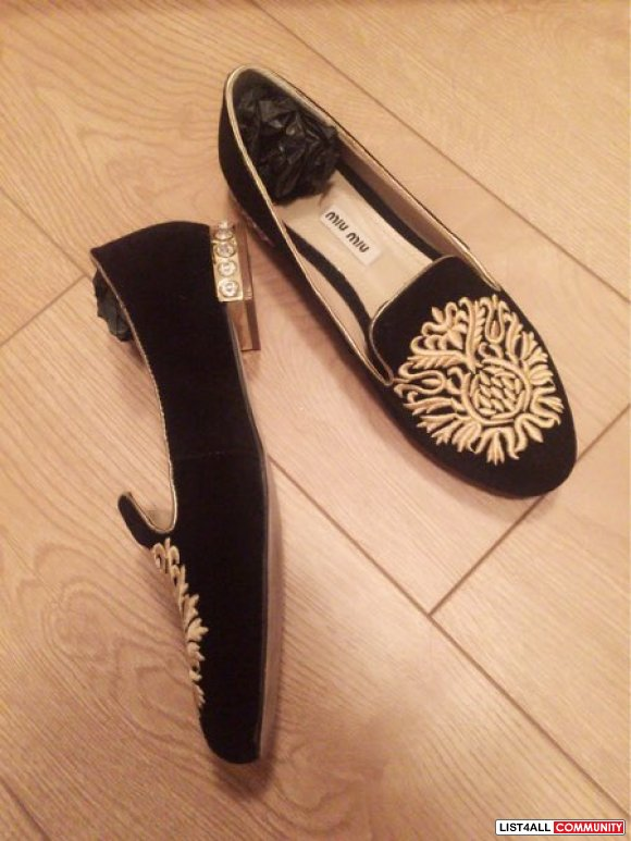Miumiu crystal black suede loafers