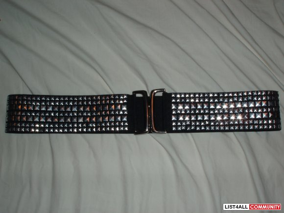silver all studded black belt wide