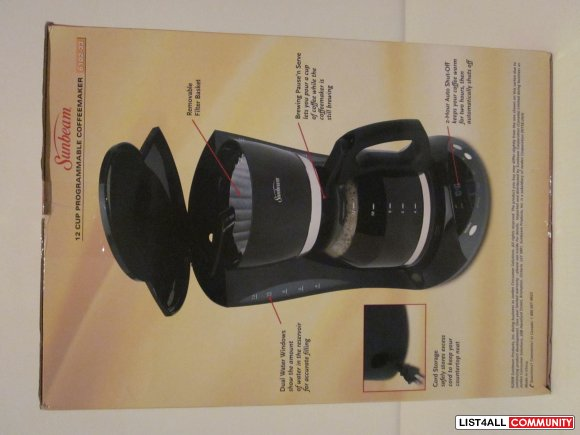 Sunbeam 12 Cup Programmable Coffee Maker 6102 33 Bnib