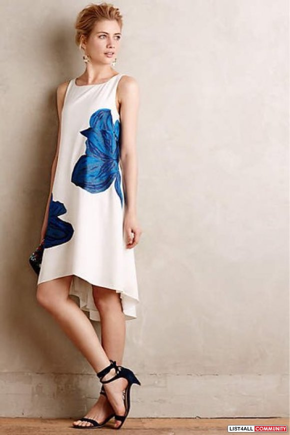 ANTHROPOLOGIE - Embroidered Blue Bell Dress