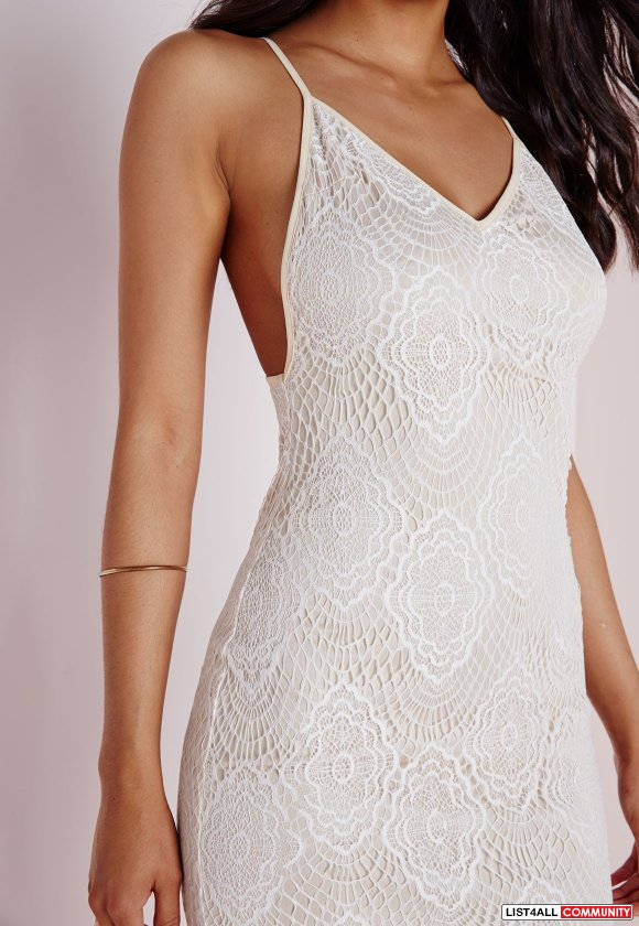 Missguided lace midi dress white BRAND NEW