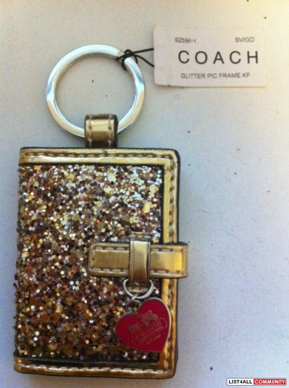 BNWT Authentic Coach Photo Keychain