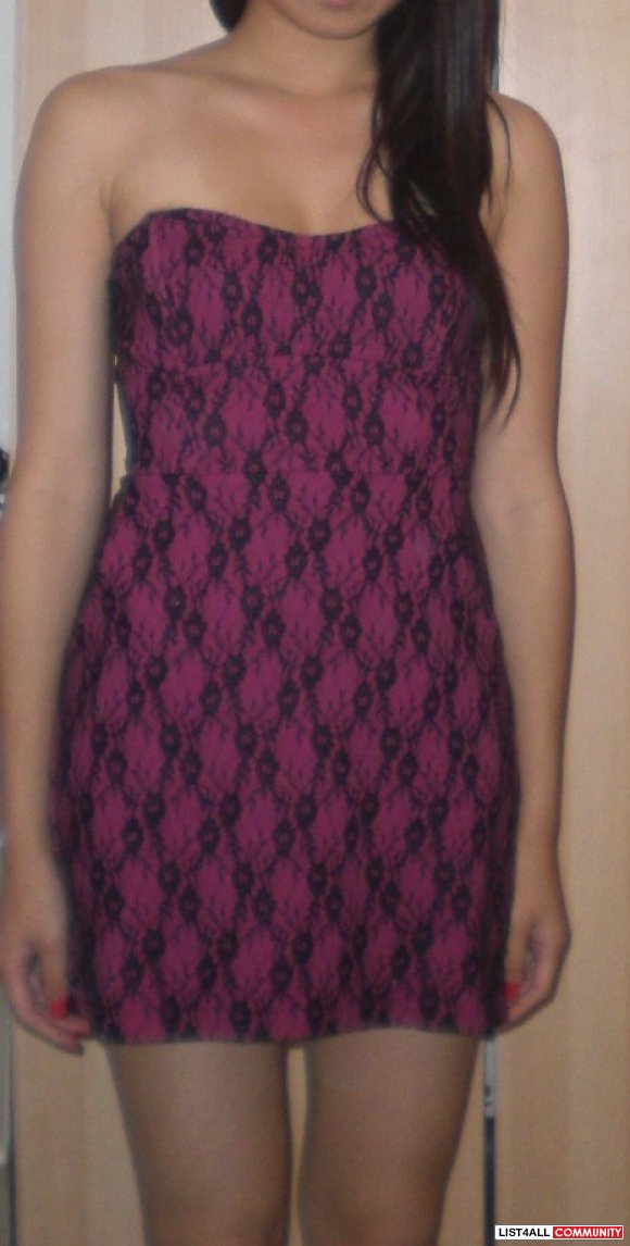 Pink Strapless Dress w/ Blk Lace Sz SMALL