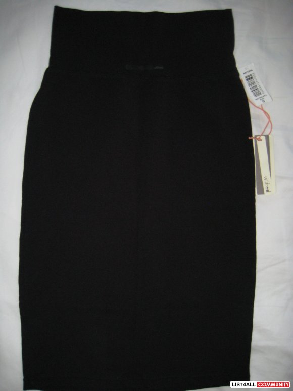 wilfred black spandex jersey pencil skirt nwt size s