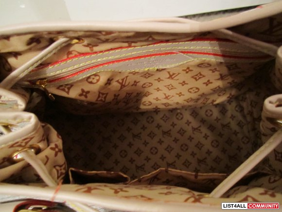 LV White Multicolor Monogram Print Bag