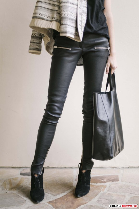 H&M Black Leggings with leather Panels - New withTags!