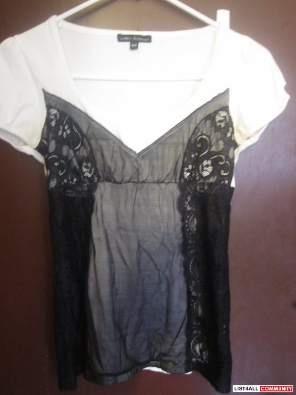 Black and White Lace T-shirt- SALE