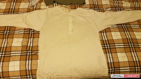 G star raw Henley in cream - size large fits medium