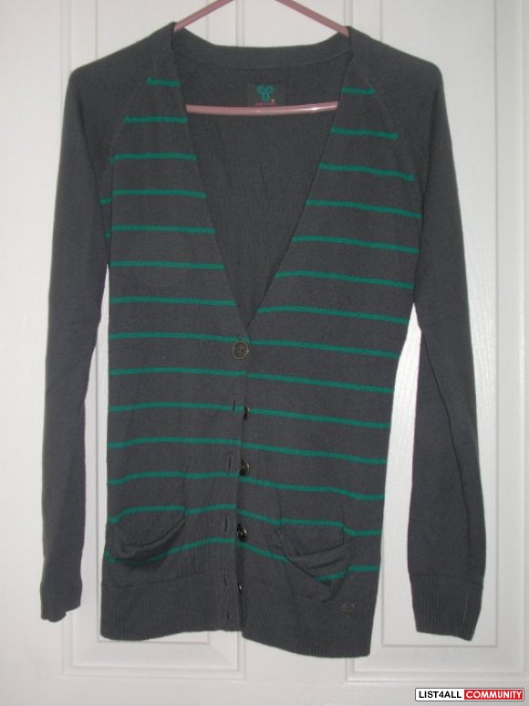 SALE: $20 TNA GREEN STRIPED CARDIGAN