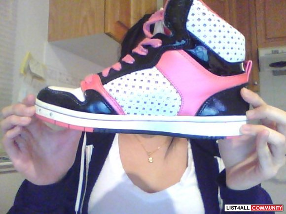 Pastry High Tops, black white and pink