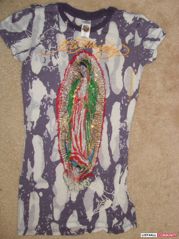 $25.00 XS Ed Hardy Shirt- Purple/White w/ Mary