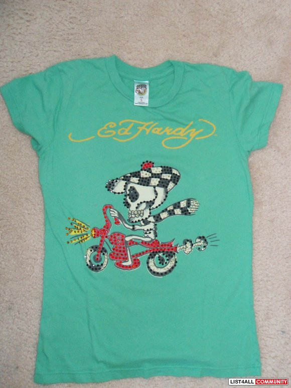 $25.00 Ed Hardy Shirt -Small- Green- Skull