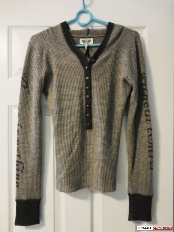 ROCK & REPUBLIC cashmere hoodie sweater S