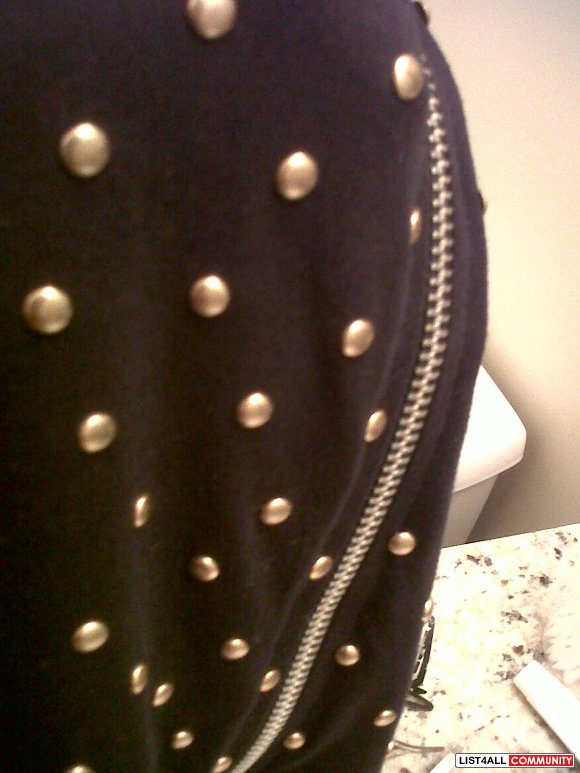 Navy Zipper Dress with Gold Studding